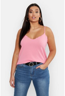 Coral Plus Scalloped Edge Camisole