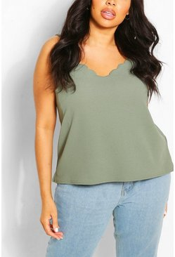 Khaki Plus  Scalloped Edge Cami Top