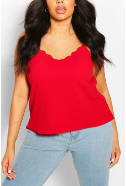 Red Plus  Scalloped Edge Cami Top