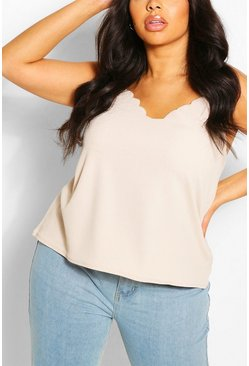 Stone beige Plus  Scalloped Edge Cami Top