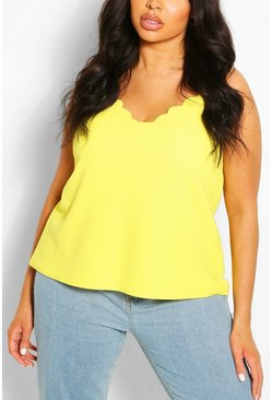 Yellow Plus  Scalloped Edge Cami Top