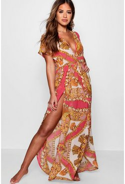 Pink Petite  Scarf Print Wrap Beach Maxi Dress