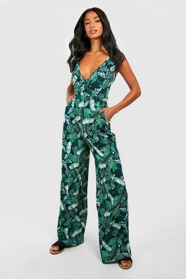 Black Petite  Palm Print Wrap Front Jumpsuit
