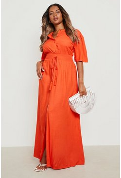 Oranje orange Maxi-jurk met ruches in de taille