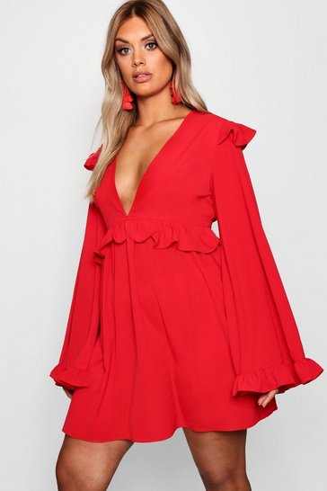 Fire red red Plus Plunge Ruffle Detail Skater Dress
