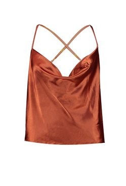 Ochre Plus Cross Back Cowl Neck Satin Cami