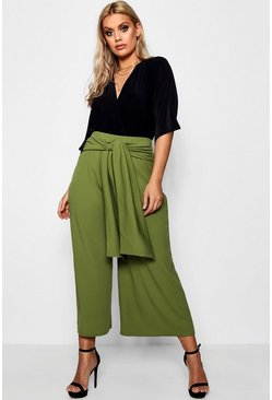Olive green Plus  Tie Waist Culottes