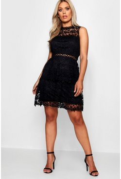 Black Plus  Lace Tiered Skater Dress