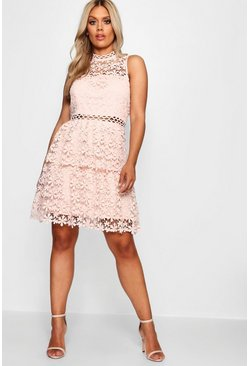 Blush pink Plus  Lace Tiered Skater Dress
