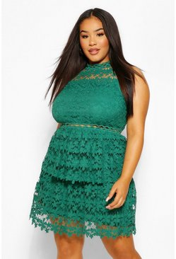 Emerald Plus  Lace Tiered Skater Dress