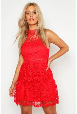 Red Plus  Lace Tiered Skater Dress