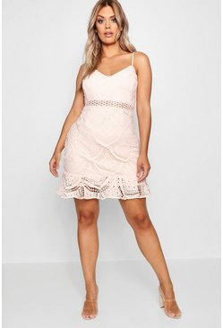 Blush pink Plus Lace Peplum Mini Dress