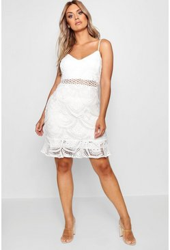 Ivory white Plus Lace Peplum Mini Dress