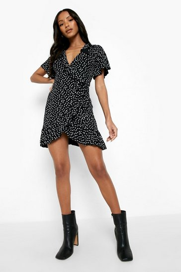 Black Petite Polka Dot Ruffle Wrap Tea Dress