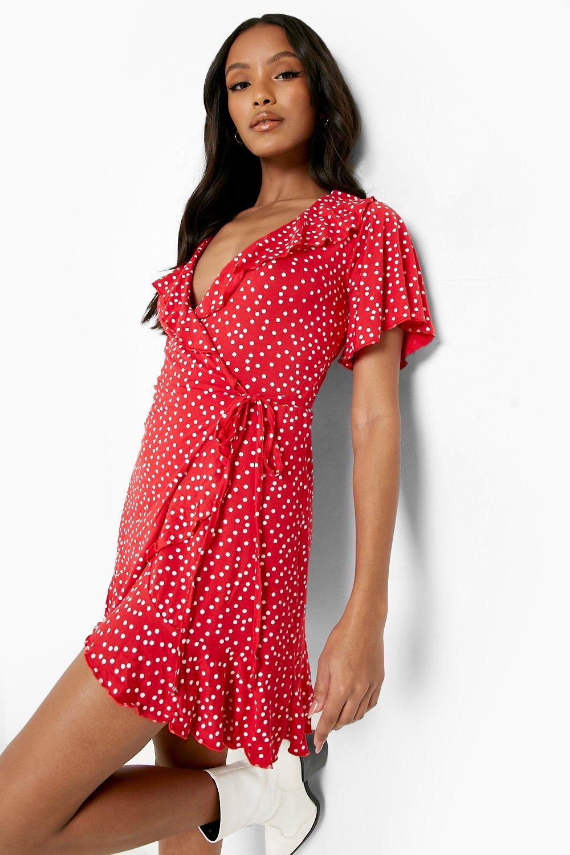 Petite Dresses Petite Polka Dot Ruffle Wrap Tea Dress