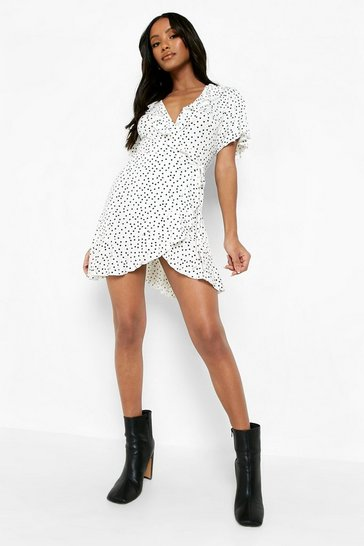 White Petite Polka Dot Ruffle Wrap Tea Dress