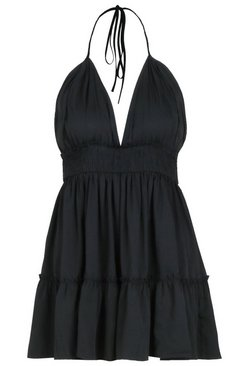 Black Petite Ruched Waist Frill Halter Neck Beach Dress