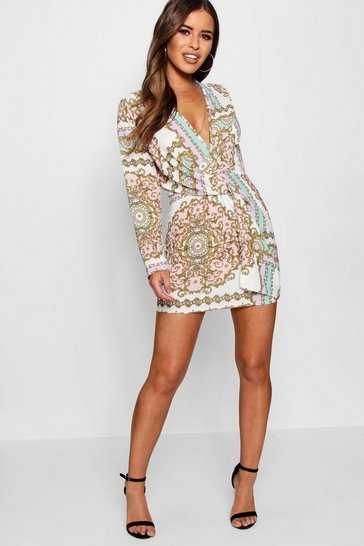 White Petite Chain Print Woven Shift Dress