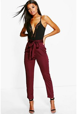 Berry red Petite Tie Waist Woven Satin Slimline Pants