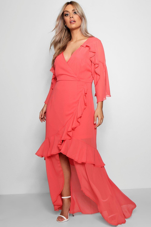 Plus Chiffon Ruffle Maxi Dress 14