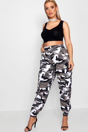 Grey Plus  Camo Cargo Jeans