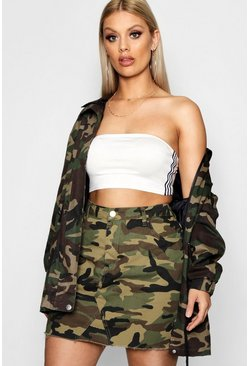 Khaki Plus  Camo Denim Skirt
