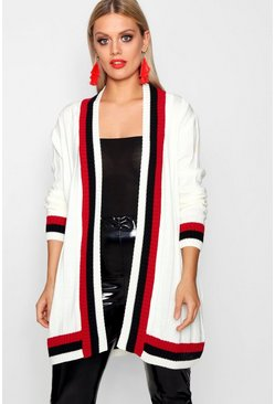 Ivory white Plus  Contrast Stripe Chunky Cardigan
