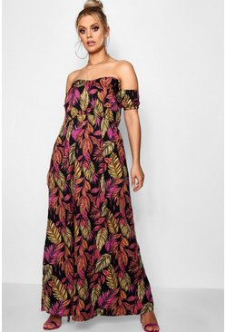 Plus Palm Off Shoulder Maxi Dress, Black