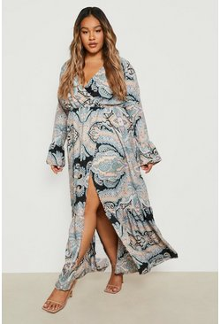 Blush pink Plus Paisley Wrap Maxi Dress