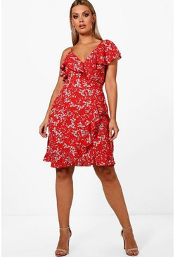 Red Plus Emma Ruffle Detail Floral Tea Dress