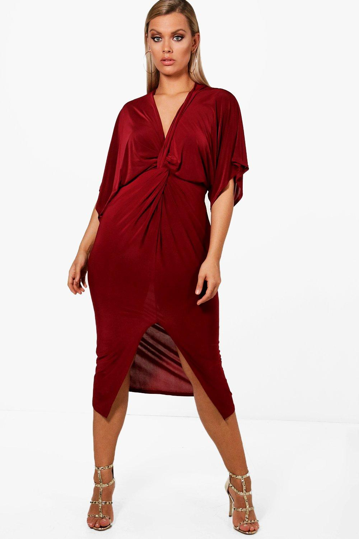 Plus Knot Front Slinky Dress 8