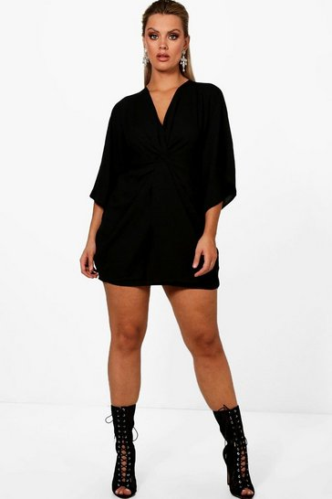 Black Plus  Knot Detail 3/4 Sleeve Dress