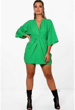 Leaf green green Plus  Knot Detail 3/4 Sleeve Dress