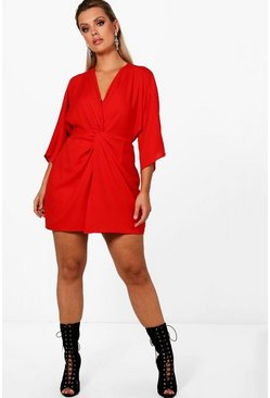 Red Plus  Knot Detail 3/4 Sleeve Dress