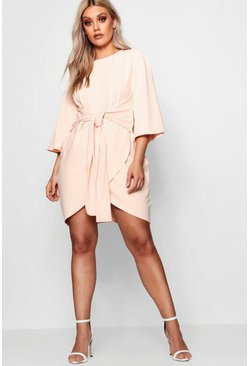 Blush pink Plus  Kimono Sleeve Tie Waist Wrap Dress