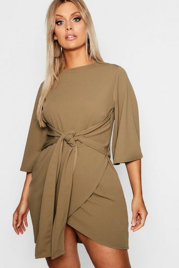 Khaki Plus  Kimono Sleeve Tie Waist Wrap Dress