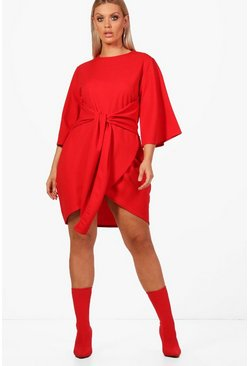 Red Plus  Kimono Sleeve Tie Waist Wrap Dress