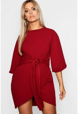 Wine red Plus  Kimono Sleeve Tie Waist Wrap Dress