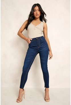 Indigo blue Petite High Rise 5 Pocket Skinny Jean