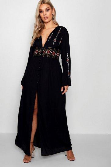 Black Plus  Embroidered Plunge Maxi Dress