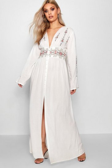Ivory white Plus  Embroidered Plunge Maxi Dress