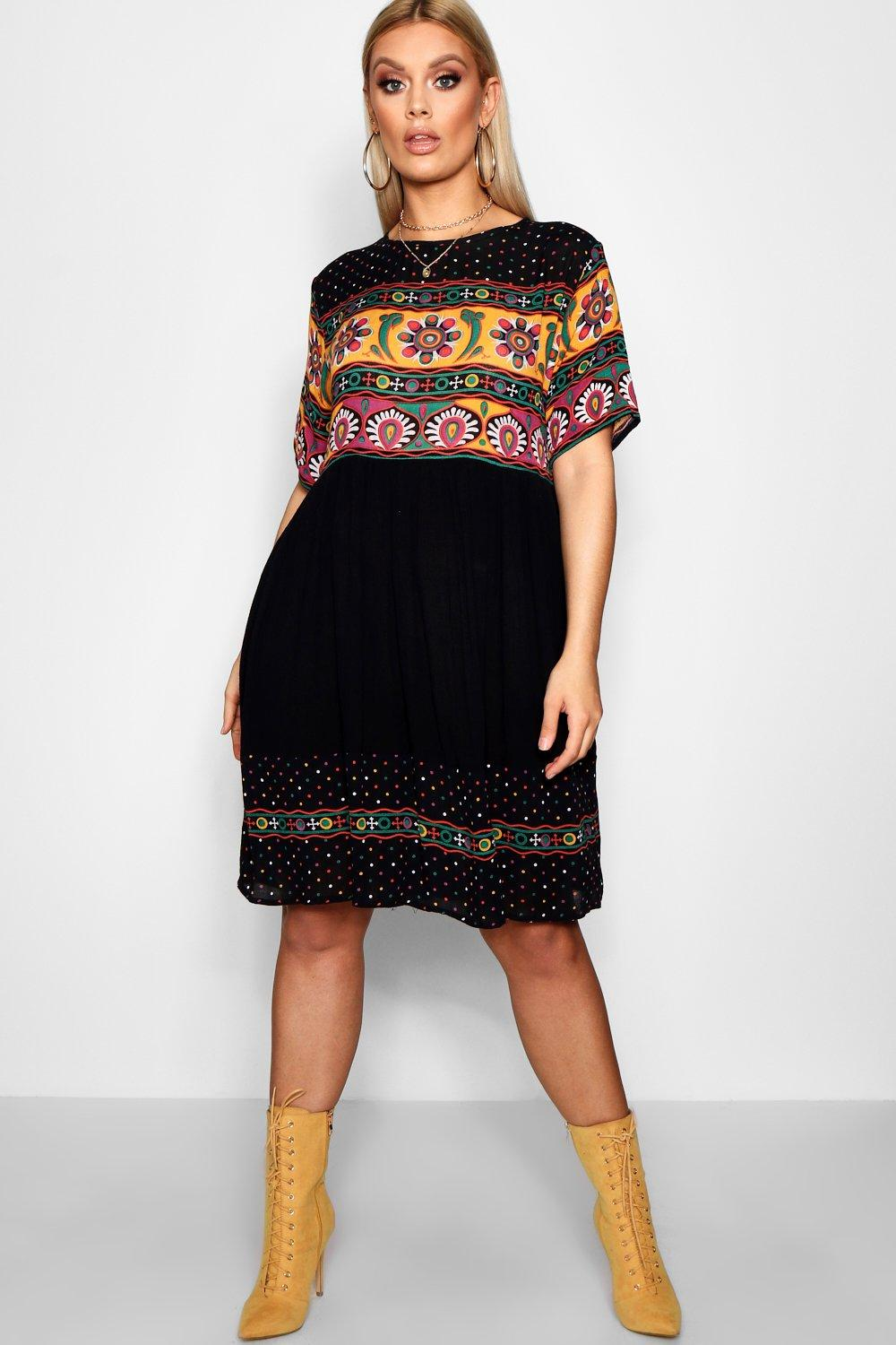 Plus Cerys Retro Print Smock Dress 8