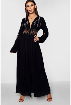 Black Petite  Embroidered Button Front Maxi Dress