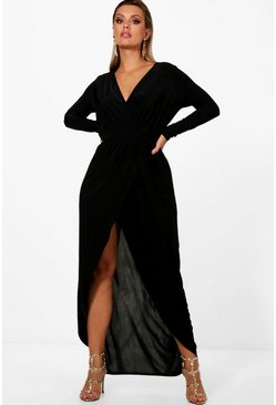Black Plus  Slinky Wrap Maxi Dress
