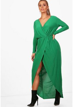 Leaf green green Plus  Slinky Wrap Maxi Dress