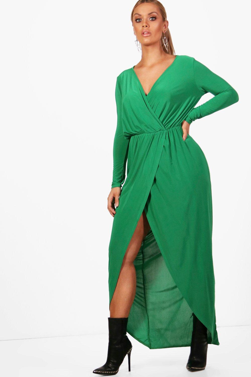 Plus Slinky Wrap Maxi Dress 19