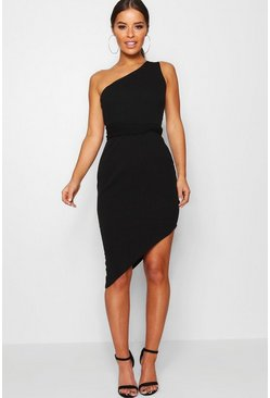 Black Petite One Shoulder Asymmetric Bodycon Dress