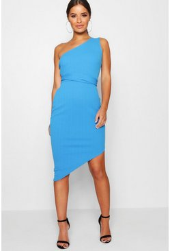 Horizon blue blue Petite One Shoulder Asymmetric Bodycon Dress