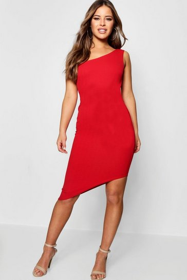Red Petite One Shoulder Asymmetric Bodycon Dress