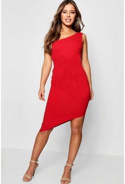Red Petite One Shoulder Asymmetric Bodycon Dress